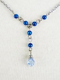 Swarovski Crystals Necklace with Color Beads and Crystal - Light Sapphire Crystal