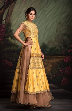 Yellow aari dori kurti with highlight of katdana and sequin work , fringe details clubbed with a flared gold tulle skirt. Indian Attire, Indian Ethnic Wear, Ethnic Fashion, Asian Fashion, Indian Dresses, Indian Outfits, Party Kleidung, Indian Couture, Lookbook