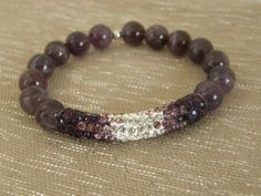 Purple Agate Elastic beaded bracelet with Rhinestone Tube Spacer.