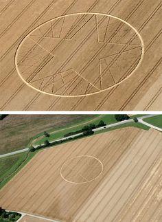 """Kornkreise. Ort / Location: Büsingen am Hochrhein, Baden-Württemberg  Entdeckt / Discovered: 8. Juli 2012  Getreide / Crop: Weizen (Wheat)  Koordinaten / Map-Coordinates: 47°41'45.49"""" N, 8°42'13.05"""" O."""