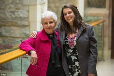 Thankful:Lia Lesser, 85, who was rescued as a child by the Kindertransport set up by Sir Nicholas Winton, poses for a photo with her daughter Naomi at his memorial service today, which would have been his birthday