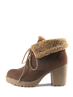 Fashion Leather Chunky Heel String Winter Boots