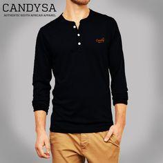 Candy SA | Mens Henley Black Long Sleeve