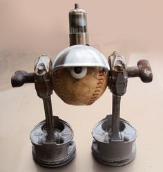 Steam Punk Found Object Robot Sculpture with Pistons by jroldan11, $185.00