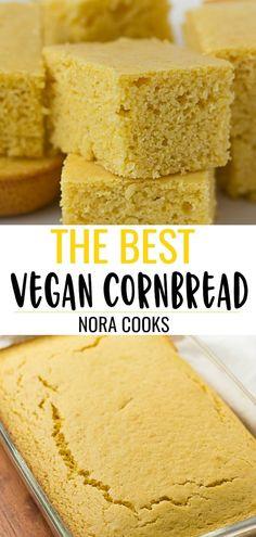 The Best Vegan Cornbread Perfectly moist sweet and the right amount of cornbread texture Just like mom used to make but vegan Raspberry Bars, Vegan Foods, Vegan Dishes, Best Vegan Recipes, Whole Food Recipes, Vegetarian Recipes, Vegan Cornbread, Cornbread Mix, Vegan Bread
