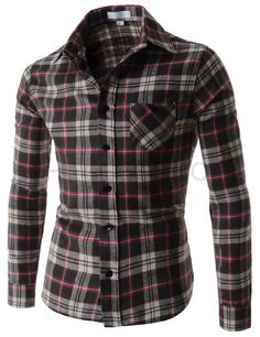 (AL677) Mens Slim Fit Tartan Check Pattern 1 Chest Pocket Long Sleeve Shirts fbf4bec7801