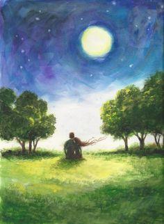 Sun Moon Stars Lovers Art Print loving couple by VickieWadeFineArt