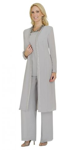 3 piece georgette pant suit with satin trim. Mother of the Bride pant suit. 52f9e5eb5fd