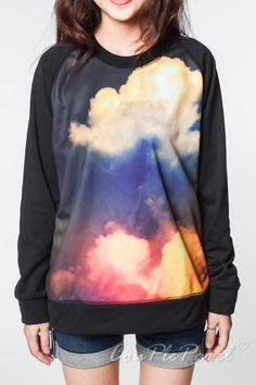 Galaxy Sweatshirt Cloud Sky Blue Red Sweater Women Long Sleeve Black Shirts Tee Shirt Men Jersey Women Unisex T-Shirts Size M L