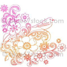 Hand-Drawn Sketchy Flowers, Swirls, and Bird Doodle Vector Illustration by blue67design, via Flickr