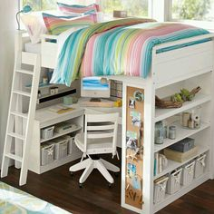 desk under bed for a tween or teen with a small room. I love the built in book shelves too.