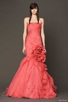 Coral coloured wedding dresses
