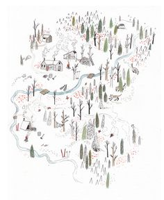 Magazine - Sarah Burwash, illustration, drawing, simple, forest, nature, landscape, map