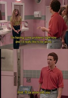 No human is as awkwardly smooth as Cory Matthews. 20 Ways Cory And Topanga Gave You Unrealistic Expectations About Relationships: I love Boy Meets World so much! Cory Matthews, Riley Matthews, Tv Quotes, Movie Quotes, Funny Quotes, Funny Memes, Deep Quotes, Dog Memes, Funny Shit
