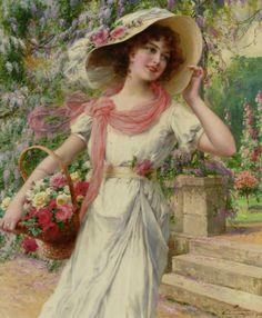 """Emile Vernon - Le Jardin de Fleurs (1915) """" """"Si vous possédez une bibliothèque et un jardin, vous avez tout ce qu'il vous faut"""" (Cicéron) """""""