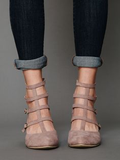Suede strappy shoes