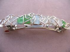 Sea Glass and Wire Wrapped Silver Barrette by theatticshop on Etsy, $20.00