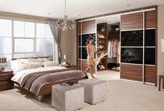 taburetes de color gris en el dormitorio moderno