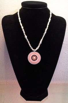 Sateen by Sunbeam Yarn 8 Warp Honeycomb Kumihimo Necklace with pinks enamelled Medallion
