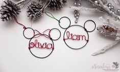 Personalized Mickey & Minnie Mouse Ornament / Personalized by rlhcreations - www.rlhcreations.com #rlhcreations