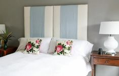 Upholstered headboard -- change the colored panels and change up your room decor -- eclectic bedroom by Upholstery Clubs Shelly Leer Headboard Designs, Headboard Ideas, Blue Headboard, How To Make Headboard, White Bedroom Furniture, Blue Bedroom, Diy Furniture, Furniture Design, Stylish Bedroom