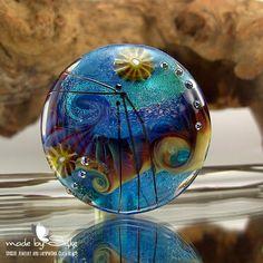 1 handmade lentil-formed lampwork bead focal -- SRA -- glass -- S o l o -- Calypsos Beads -- Silke Buechler. $34.00, via Etsy.