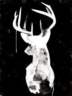 Oh Deer - Black - Canvas art print - hardtofind.
