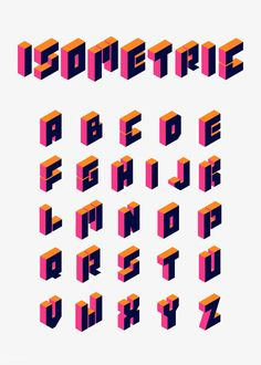 Love the geometric style of this lettering. as well as the bold contrast of colour, realistically reminiscent of light and shadow. Isometric Drawing, Isometric Design, Hand Lettering Fonts, Graffiti Lettering, A Z Fonts, Typographie Fonts, Vector Graphics, Vector Free, How To Write Calligraphy
