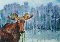 $120.00 Moose painting. Scenic moose art. Bull moose by CecileRancourtArt.