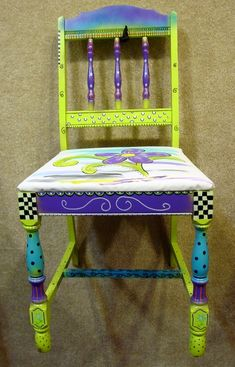 Hand painted chair and fabric - purple, teal & lime