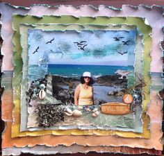 By the sea. - Scrapbook.com - Distress, ink and layer multiple squares in a graduating sizes.