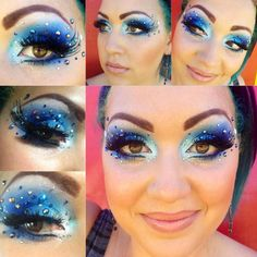 Crystals accent white to blue gradient eye shadow with dramatic lashes.
