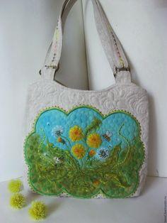 fc9af23e2ed8 сумки и аксессуары · Купить Одуванчики вышитая сумка - сумка женская,  одуванчики, весна, зеленый, подарок женщине