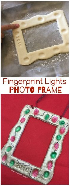 Today I am sharing this special kid-made fingerprint lights photo frame as part of the Kid-made Gifts Series! For this photo frame we used: Salt Dough- 1 cup of flour plus 1 cup of salt mixed with half a cup of water An old plastic photo frame Gold spray paint Red and green paint Ribbon Alphabet Cookie …
