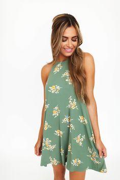 Olive Ribbed Floral Dress - Dottie Couture Boutique