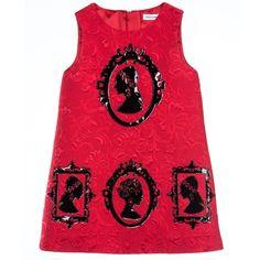 Dolce & Gabbana - Baby Girls Red Brocade Portrait Dress   Childrensalon