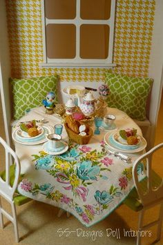 Garden style tablescape. In the Barbie house. 1:6 Scale Kitchen Dining
