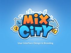 mix city game logo designed by Miki. Game Logo Design, Branding Design, Design Logos, Mobile Logo, Toys Logo, Cartoon Logo, Game Character Design, Startup, Text Style