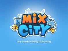 mix city game logo designed by Miki. Game Logo Design, Branding Design, Design Logos, Mobile Logo, Toys Logo, Cartoon Logo, Game Character Design, Startup, Text Style