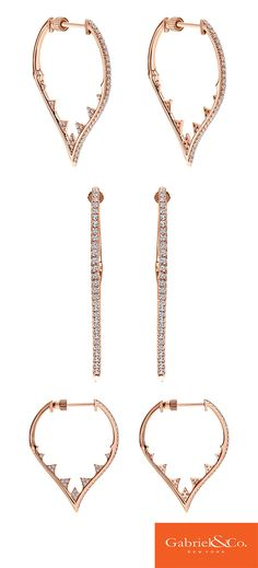 These are one of the most beautiful 18k Pink Gold Diamond Intricate Hoop Earrings by Gabriel & Co. The details these hoop earrings have are absolutely unique and beautiful. These are the perfect earrings for a special occasion!