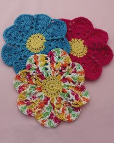Blooming Flower crochet Dish Cloths. Free pattern.
