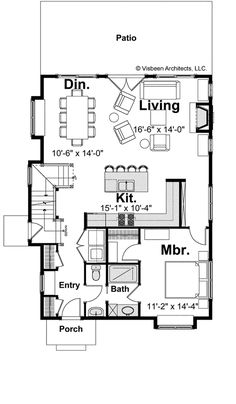 First floor plan for a small cottage house. This home was recognized at the 2010 American Residential Design Awards in the Custom Luxury category. - make downstairs office & upstairs 1 floor master. Large walk-in closet in front. Bungalow Style House, Bungalow Floor Plans, Small House Floor Plans, House Plans One Story, Cottage Style, Small Cottage Homes, Cottage House Plans, Farm House, Kitchen Wall Design