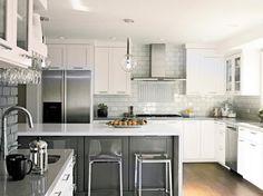 white kitchen with gray island | Kitchens / white kitchen, gray island, acrylic barstools