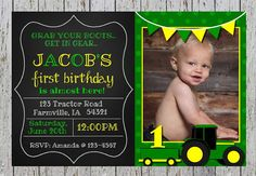 Green and Yellow Tractor First Birthday Invitation - Printable - $5.50