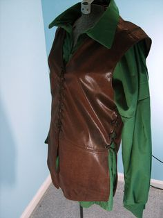 Medieval Brown Faux Leather Vest / Jerkin Size  by PavaneCostuming, $45.00