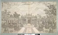 West façade of Aviary; Plate 6 from the set of twenty engravings.  View of the building in the centre foreground, a broad paved path leading up to it from the foreground, topiary set in a parterre on either side; to left of the building a panelled wall, to right a plain wall with tiled roof (possibly part of a low building); trees beyond.  Engraving in a linked album in wooden covers, containing a sub-set of thirteen engravings, each mounted in figured damask silk  Inscribed and numbered.
