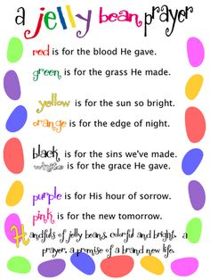 Sunday School craft for Easter: layer a few of each color of jelly beans in a small lidded container and tie on a copy of the poem.