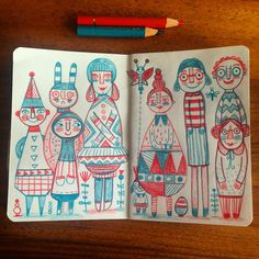 Family portrait.(c)linziehunter #sketchbook #doodle #characterdesign #pattern #bauhaus