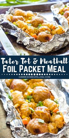 Delicious Foil Packet Meals are so easy to make in the oven, over a campfire or on a grill! These Tater Tot Meatball Foil Packets are an entire meal! They have juicy meatballs, crisp tater tots, vegetables and of course cheese for an entire meal in a foil Tin Foil Dinners, Foil Packet Dinners, Foil Pack Meals, Foil Packets, Hobo Dinners, Foil Packet Recipes, Hobo Dinner Recipes, Tater Tots, Grilling Recipes