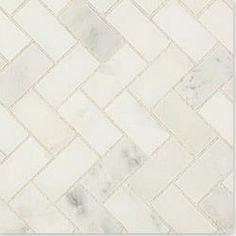 Cabot Marble Mosaic-Carrara Marble Series: Arabescato Herring Bone. Builddirect.com  Bathroom floor tile.